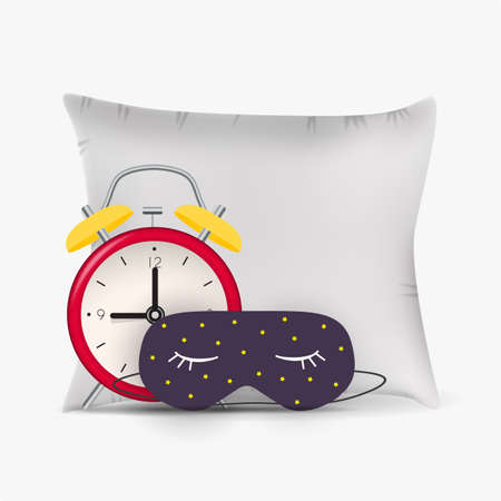 Good Night Abstract Background with Funny Sleeping Mask, alarm clock and pillow. Vector Illustration EPS10