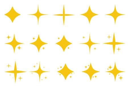 Yellow set of original bright stars sparkle icon. Glowing light effect stars collection. Vector Illustration EPS10 Stock Illustratie