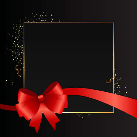 Abstract Black Background with Golden Frame and Red ribbon. Vector Illustration EPS10