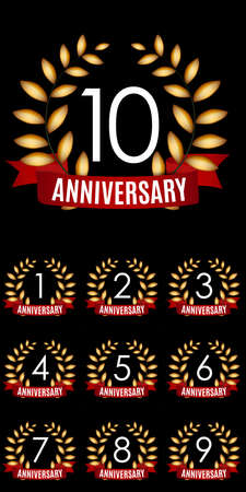Collection of Years Anniversary Template with Red Ribbon and Laurel wreath Vector Illustration EPS10