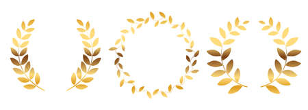 Laurel wreath silhouette collection set isolated on white background. Vector Illustration EPS10