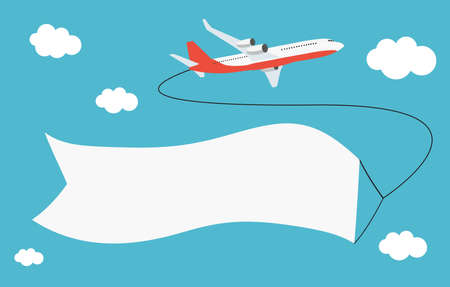 Flying airplane with place for text. Vector Illustration 版權商用圖片 - 157120894