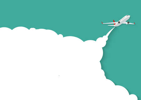 Flying airplane with place for text. Vector Illustration 向量圖像