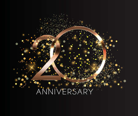 20 Years Anniversary Golden Template Vector Illustration