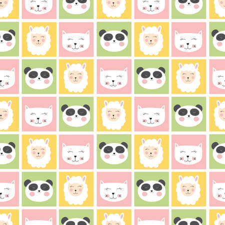 Cute seamless pattern with animals panda, cat and sheep for kids, child background. Vector illustration