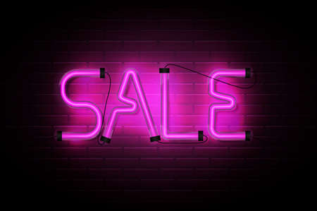 Sale Glowing Neon Pink Tubes on Dark Brick Wall Background. Vector Illustration EPS10