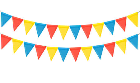 Banner with garland of flags and ribbons. Holiday Party background for birthday party, carnava. Vector Illustration