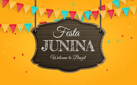 Festa Junina Background with Party Flags. Brazil June Festival Background for Greeting Card, Invitation on Holiday. Vector Illustration Vektorové ilustrace