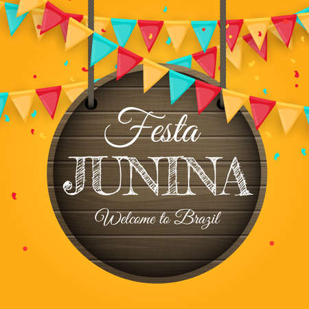 Festa Junina Background with Party Flags. Brazil June Festival Background for Greeting Card, Invitation on Holiday. Vector Illustration