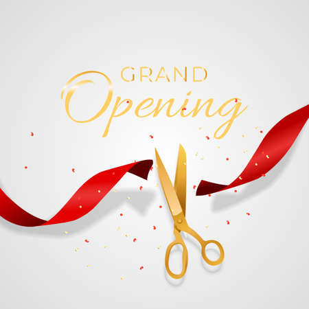 Grand Opening Card with Ribbon and Scissors Background. Vector Illustration Vettoriali