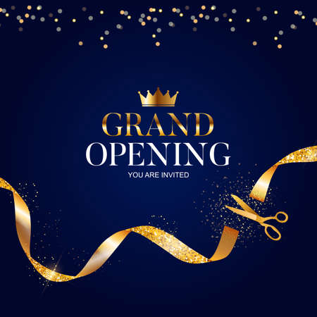 Grand Opening Card with Ribbon and Scissors Background. Vector Illustration Ilustração Vetorial