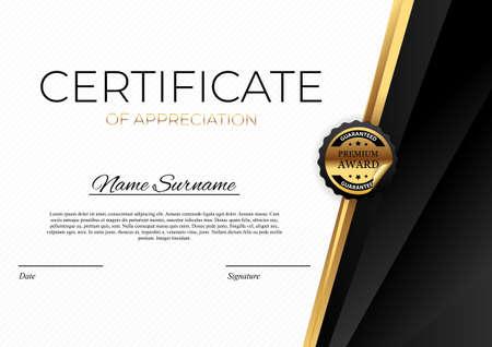 Certificate template Background. Award diploma design blank. Vector Illustration Vetores