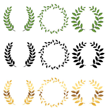 Laurel wreath Collection set isolated on white background. Vector Illustration 向量圖像