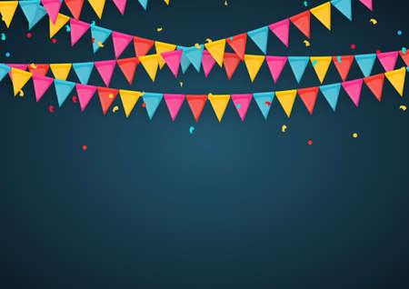 Banner with garland of flags and ribbons. Holiday Party background for birthday party, carnaval. Vector Illustration