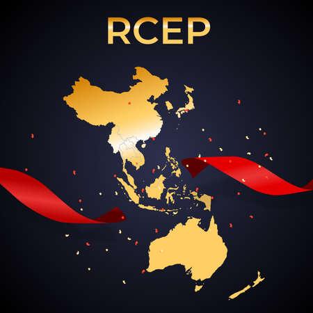 Holiday concept Modern Regional Comprehensive Economic Partnership RCEP map. Vector Illustration. 向量圖像