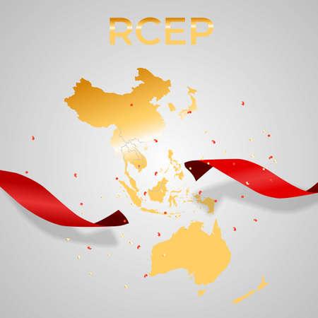 Holiday concept Modern Regional Comprehensive Economic Partnership RCEP map. Vector Illustration.