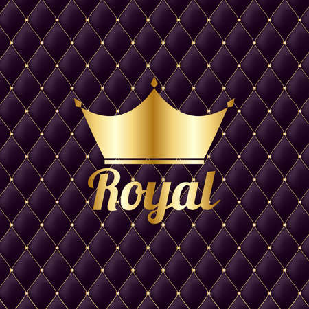 Golden Crown Royal Vintage Luxury Background. Vector Illustration Vetores