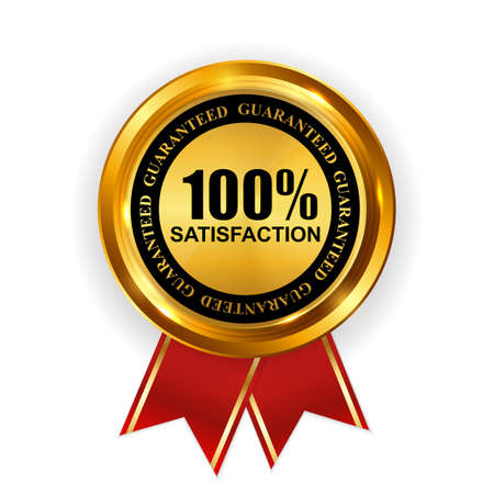Abstract Gold Label 100% Satisfaction Template. Vector Illustration
