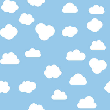 Cloud Seamless Pattern blue background. Vector Illustration