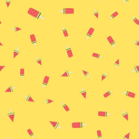 Watermelon Ice Cream Seamless Pattern Background Vector Illustration