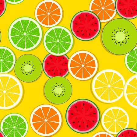 Abstract Seamless Pattern Background with Fresh Fruits. Vector Illustration Illusztráció