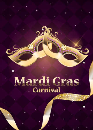 Mardi Gras carnaval Background.Traditional mask with feathers and confetti for fesival, masquerade, parade.Template for design invitation, flyer, poste, banners. Vector Illustration