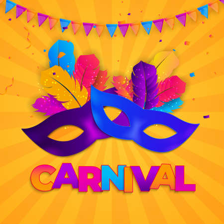 Carnaval Background.Traditional mask with feathers and confetti for fesival, masquerade, parade.Template for design invitation, flyer, poste, banners. Vector Illustration Ilustração