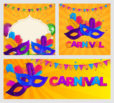 Carnaval Background set.Traditional mask with feathers and confetti for fesival, masquerade, parade.Template for design invitation,flyer, poster, banners. Vector Illustration Ilustracja