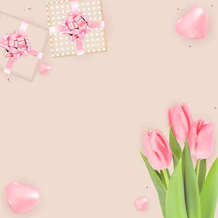 Background with Tulips and Gift Box Design. Template for advertising, web, social media and fashion ads. Horizontal poster, flyer, greeting card, header for website Vector Illustration. Ilustracja