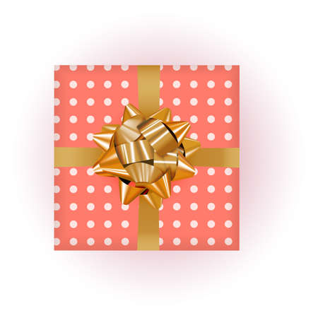 Gift Box with Bow and Ribbon. Vector Illustration