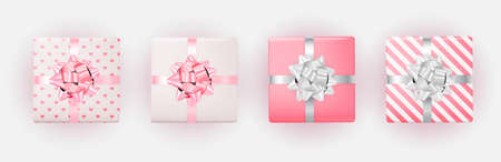 Gift Box for Valentine`s Day with Bow and Ribbon. Vector Illustration Ilustracja