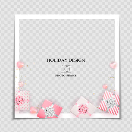 Holiday Background Photo Frame Template with Hearts and gift box for post in Social Network. Vector Illustration Ilustracja