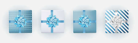 Blue Gift Box Collection Set with Bow and Ribbon. Vector Illustration
