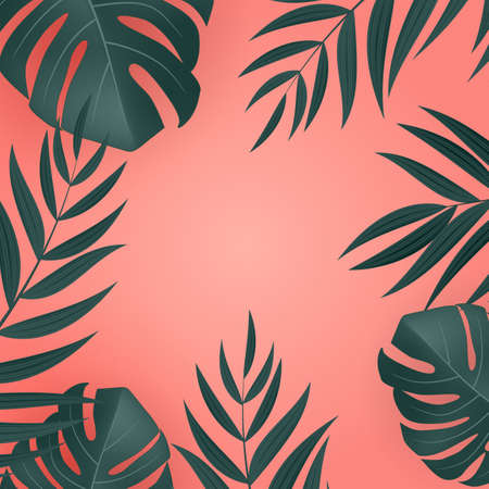 Natural Realistic Green and Pink Palm Leaf Tropical Background. Vector illustration Illustration