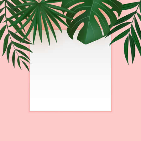 Natural Realistic Green and Gold Palm Leaf Tropical Background with Blank White Frame. Vector illustration