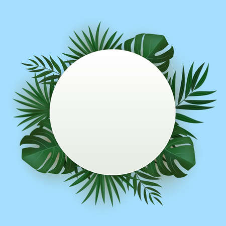 Natural Realistic Green Palm Leaf Tropical Background. Vector illustration