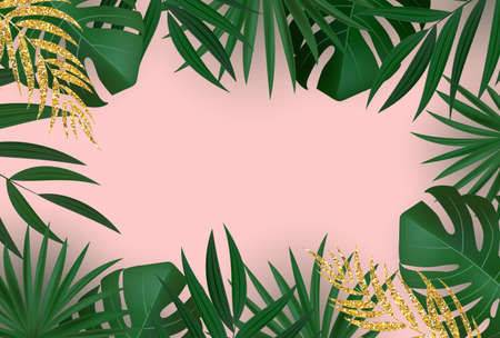 Natural Realistic Green and Gold Palm Leaf Tropical Background. Vector illustration Illustration