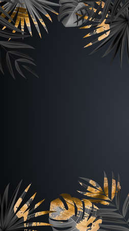 Natural Realistic Black and Gold Palm Leaf Tropical Background. Vector illustration Illustration