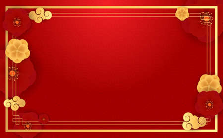 Abstract Chinese Holiday Background with plum flowers. Vector Illustration 向量圖像