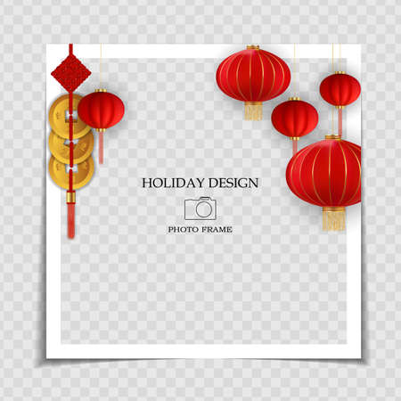 Holiday Background Photo Frame Template. Chinese New Year Concept for post in Social Network. Vector Illustration