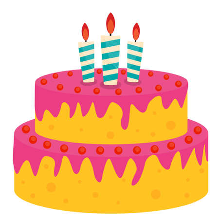 Cute Birthday Cake Icon with Candles. Design Element for Party Invitation, Congratulation. Vector Illustration EPS10