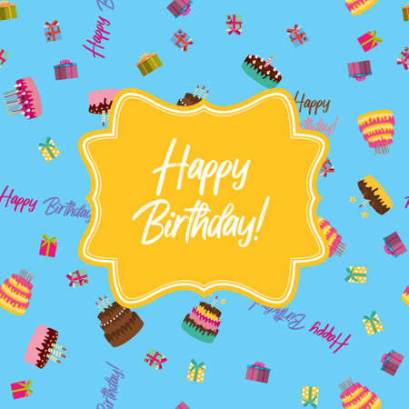 Cute Happy Birthday Background with Cake Icon and Candles. Design Element for Party Invitation, Congratulation. Vector Illustration EPS10