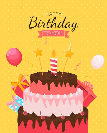 Cute Happy Birthday Background with Gift Box, Cake and Candles. Design Element for Party Invitation, Congratulation. Vector Illustration EPS10 Stock Illustratie