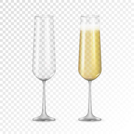 Realistic 3D champagne Golden Glass Icon isolated on transparent background. Vector Illustration Vector Illustratie