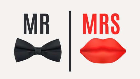 Mr. and Mrs. Sign with Black bow tie and Red Lips. 3d Vector Illustration
