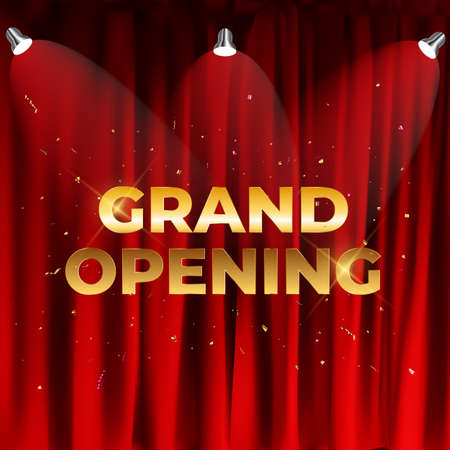 Grand Opening Card Background. Vector Illustration