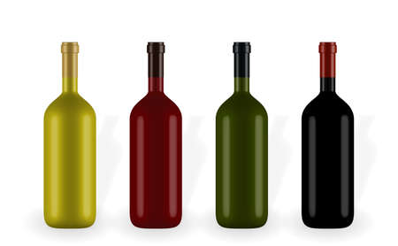 Colorful naturalistic closed 3D wine bottle of different colors without label. Vector Illustration.