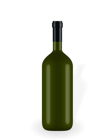 Colorful naturalistic closed 3D wine bottle without label. Vector Illustration.