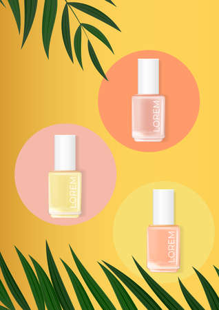 Nail polish summer palm background. cosmetic product template for advertisement, magazine, product sample. Vector Illustration
