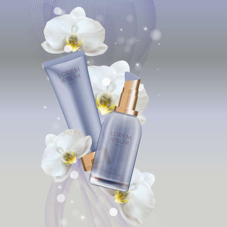 3D Realistic Natural cosmetic product cream bottle and tube with orchid flower. Design Template of Fashion Cosmetics Product for Ads, flyer or Magazine Background. Vector Illustration EPS10 矢量图片